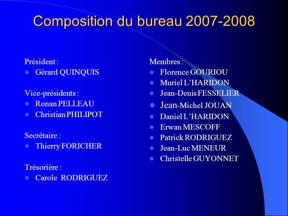 Composition du bureau 2007-2008 Président : Gérard QUINQUIS Vice-présidents : Ronan PELLEAU Christian PHILIPOT Secrétaire : Thierry FORICHER Trésorièr