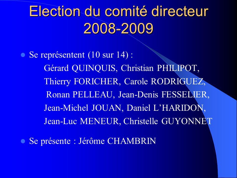 Election du comité directeur 2008-2009 Se représentent (10 sur 14) : Gérard QUINQUIS, Christian PHILIPOT, Thierry FORICHER, Carole RODRIGUEZ, Ronan PE