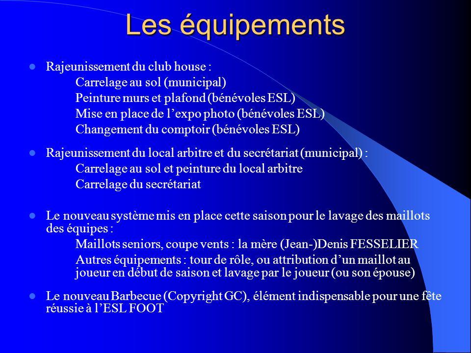Les équipements Rajeunissement du club house : Carrelage au sol (municipal) Peinture murs et plafond (bénévoles ESL) Mise en place de lexpo photo (bén