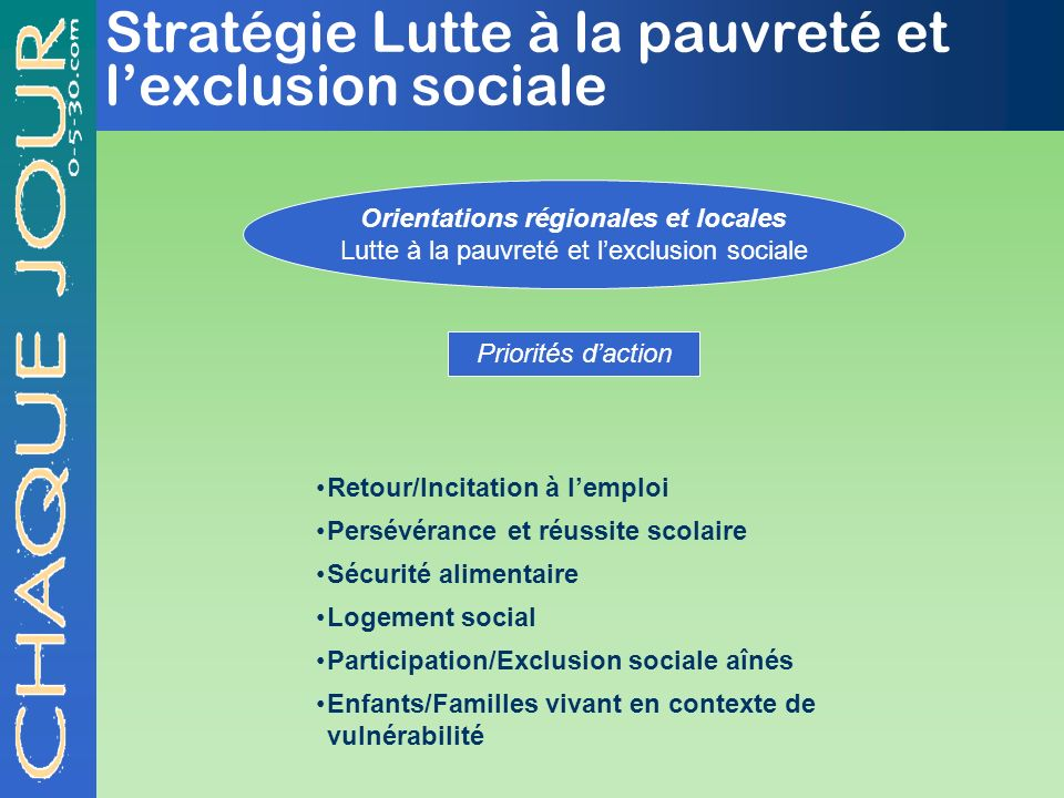 Stratégie Lutte à la pauvreté et lexclusion sociale Orientations régionales et locales Lutte à la pauvreté et lexclusion sociale Priorités daction Ret