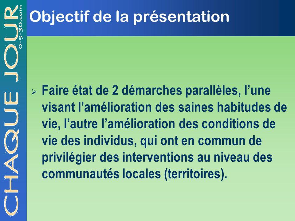 Objectif de la présentation Faire état de 2 démarches parallèles, lune visant lamélioration des saines habitudes de vie, lautre lamélioration des cond