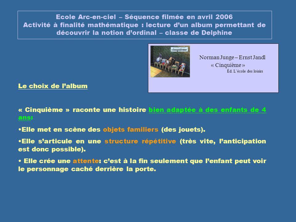 Ecole Arc-en-ciel – Séquence filmée en avril 2006 Activité à finalité mathématique : lecture dun album permettant de découvrir la notion dordinal – cl