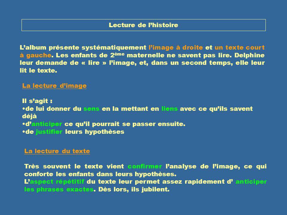 Lecture de lhistoire Lalbum présente systématiquement limage à droite et un texte court à gauche. Les enfants de 2 ème maternelle ne savent pas lire.