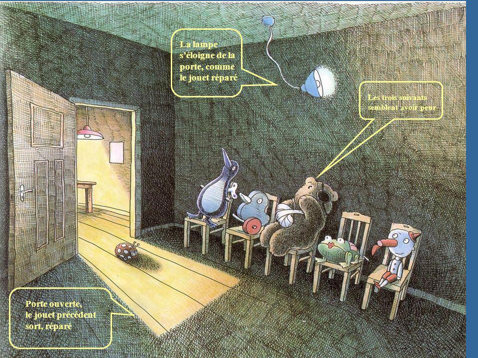 Porte ouverte, le jouet précédent sort, réparé La lampe séloigne de la porte, comme le jouet réparé Les trois suivants semblent avoir peur
