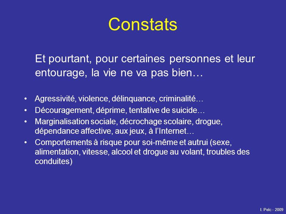 Constats Et pourtant, pour certaines personnes et leur entourage, la vie ne va pas bien… Agressivité, violence, délinquance, criminalité… Découragemen