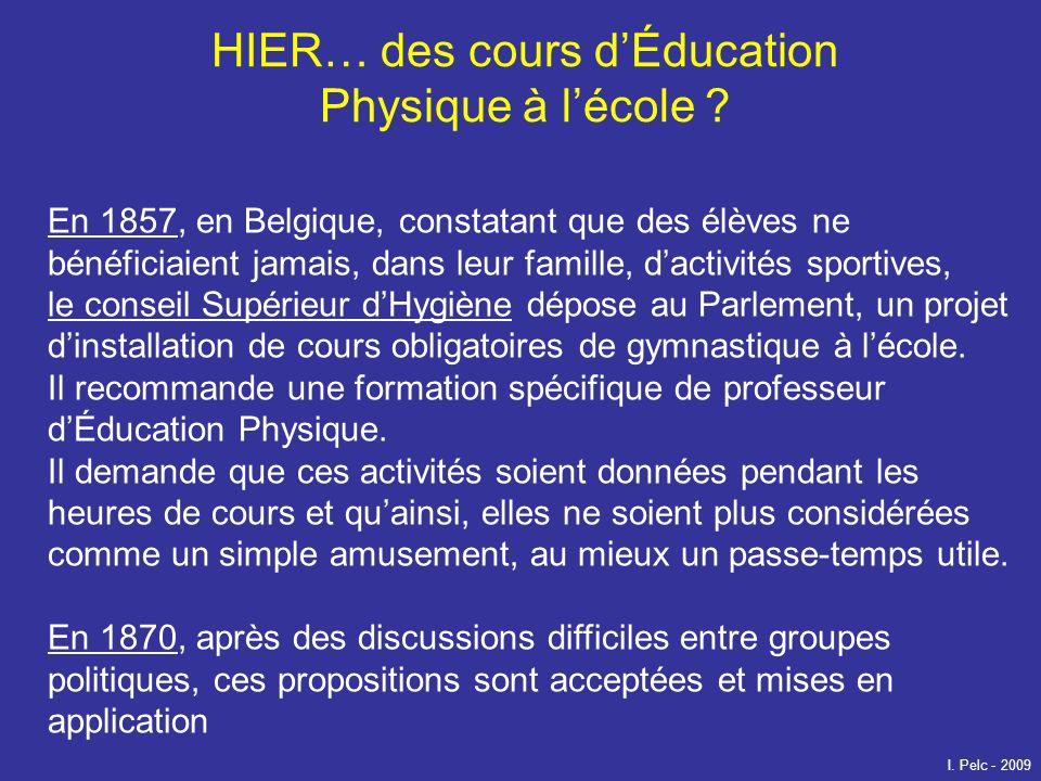 HIER… des cours dÉducation Physique à lécole ? En 1857, en Belgique, constatant que des élèves ne bénéficiaient jamais, dans leur famille, dactivités