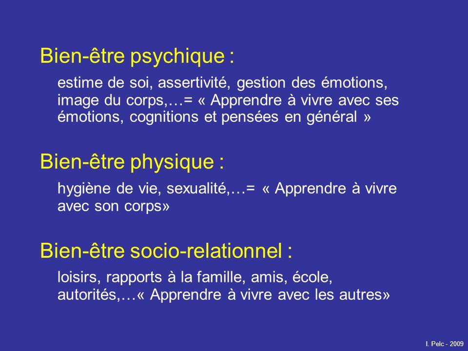 Bien-être psychique : estime de soi, assertivité, gestion des émotions, image du corps,…= « Apprendre à vivre avec ses émotions, cognitions et pensées