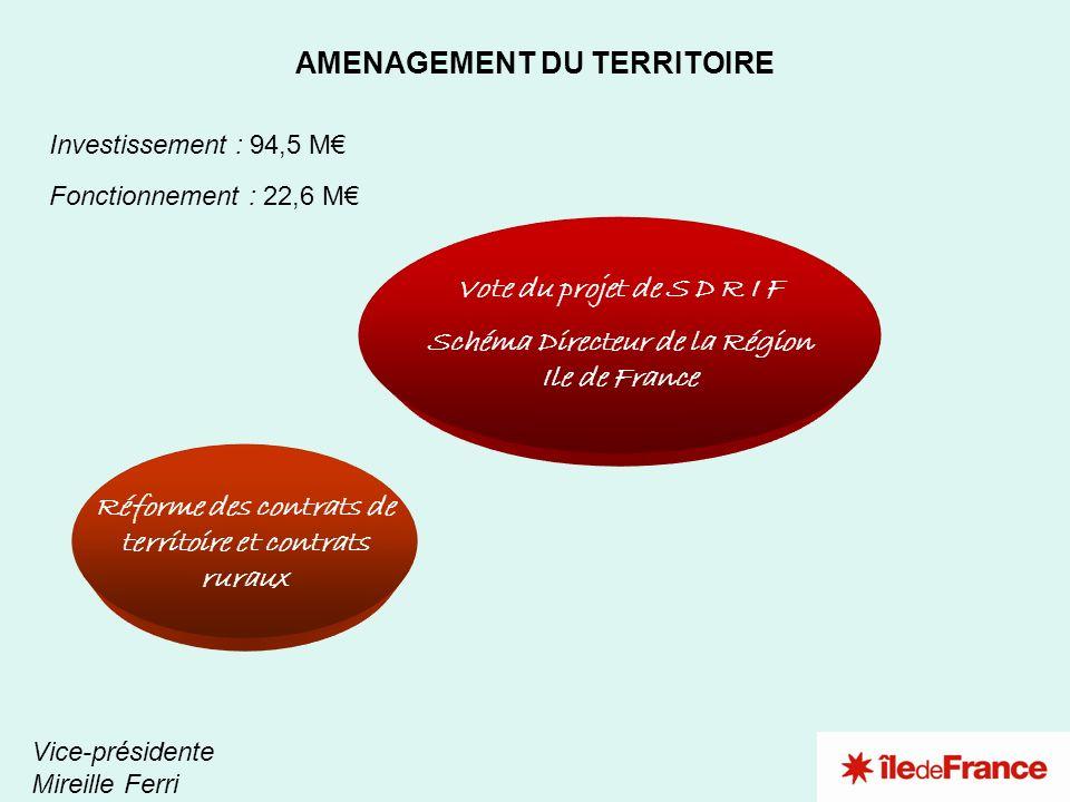 2 1 Vote du projet de S D R I F Schéma Directeur de la Région Ile de France AMENAGEMENT DU TERRITOIRE Vice-présidente Mireille Ferri Investissement :