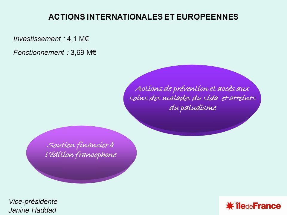 2 1 ACTIONS INTERNATIONALES ET EUROPEENNES Investissement : 4,1 M Fonctionnement : 3,69 M Vice-présidente Janine Haddad Actions de prévention et accès
