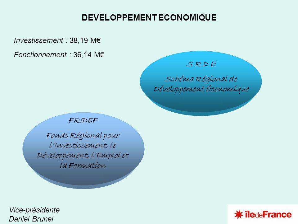 1 2 DEVELOPPEMENT ECONOMIQUE Vice-présidente Daniel Brunel Investissement : 38,19 M Fonctionnement : 36,14 M FRIDEF Fonds Régional pour lInvestissemen
