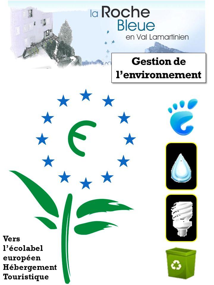 Gestion de lenvironnement Vers lécolabel européen Hébergement Touristique