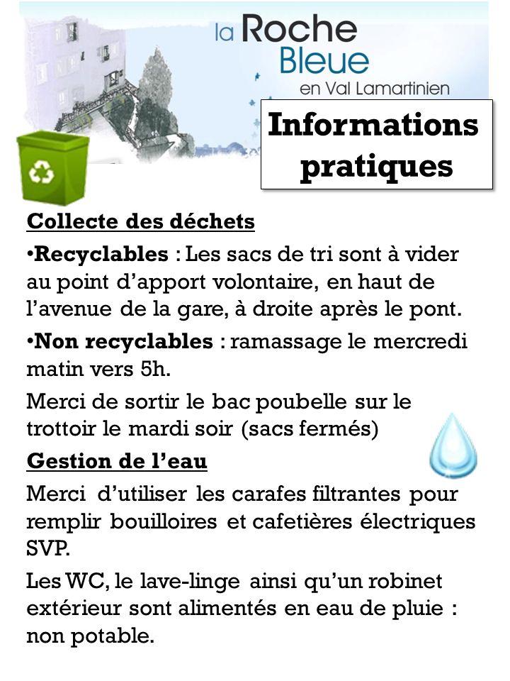 Collecte des déchets Recyclables : Les sacs de tri sont à vider au point dapport volontaire, en haut de lavenue de la gare, à droite après le pont. No