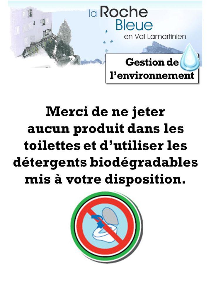 Gestion de lenvironnement Merci de ne jeter aucun produit dans les toilettes et dutiliser les détergents biodégradables mis à votre disposition.