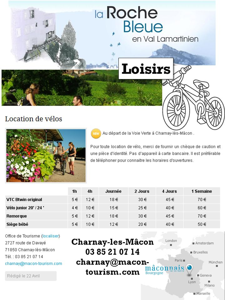 Charnay-les-Mâcon 03 85 21 07 14 charnay@macon- tourism.com Loisirs
