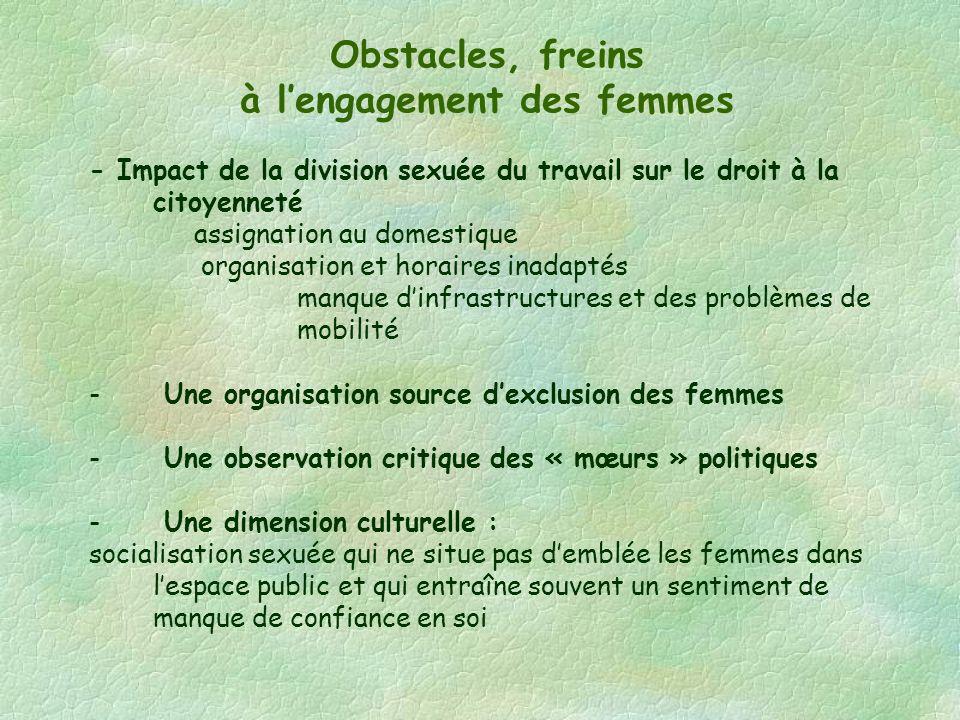 Obstacles, freins à lengagement des femmes - Impact de la division sexuée du travail sur le droit à la citoyenneté assignation au domestique organisat
