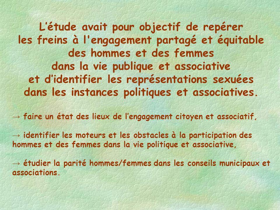Létude avait pour objectif de repérer les freins à l engagement partagé et équitable des hommes et des femmes dans la vie publique et associative et didentifier les représentations sexuées dans les instances politiques et associatives.