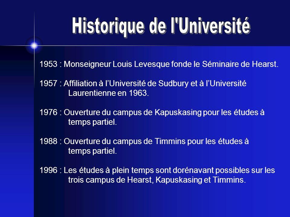 1953 : Monseigneur Louis Levesque fonde le Séminaire de Hearst. 1957 : Affiliation à lUniversité de Sudbury et à lUniversité Laurentienne en 1963. 197