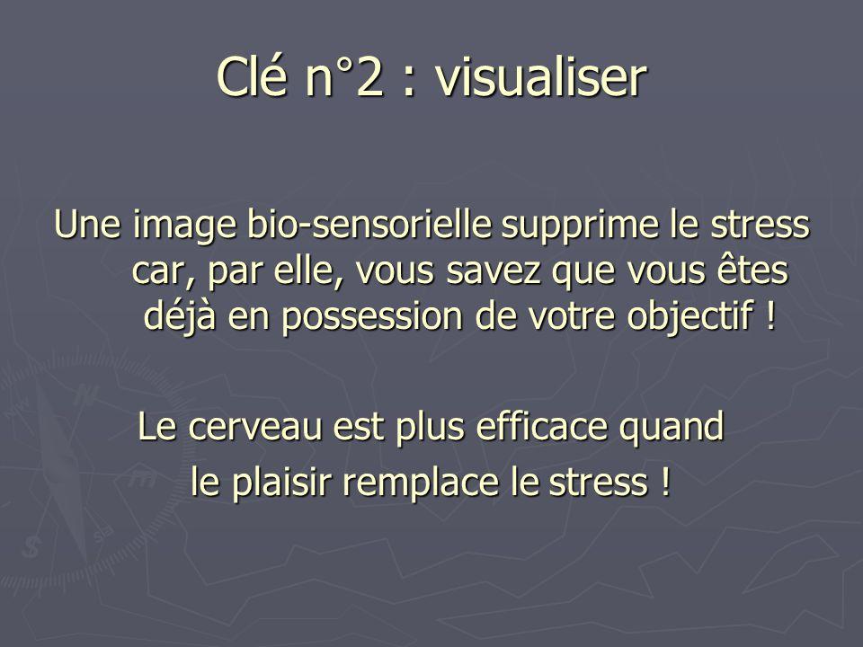 Une image bio-sensorielle supprime le stress car, par elle, vous savez que vous êtes déjà en possession de votre objectif ! Le cerveau est plus effica