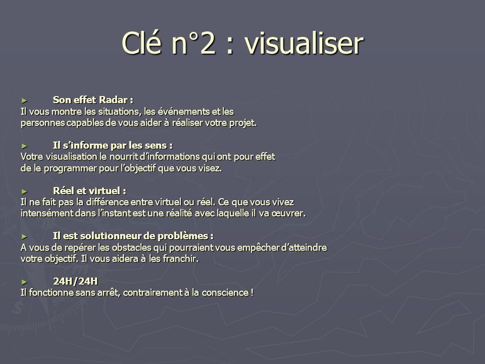Clé n°2 : visualiser Son effet Radar : Il vous montre les situations, les événements et les personnes capables de vous aider à réaliser votre projet.