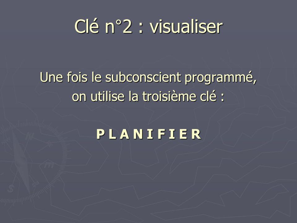 Une fois le subconscient programmé, on utilise la troisième clé : P L A N I F I E R