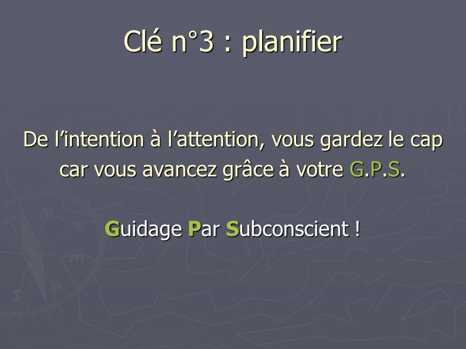 Clé n°3 : planifier De lintention à lattention, vous gardez le cap car vous avancez grâce à votre G.P.S. Guidage Par Subconscient !