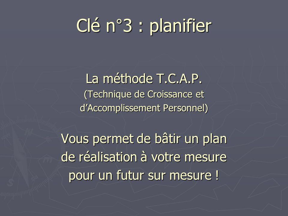 Clé n°3 : planifier La méthode T.C.A.P. (Technique de Croissance et dAccomplissement Personnel) Vous permet de bâtir un plan de réalisation à votre me