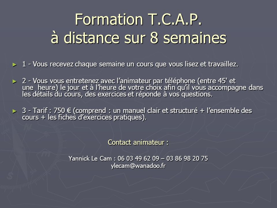 Formation T.C.A.P.
