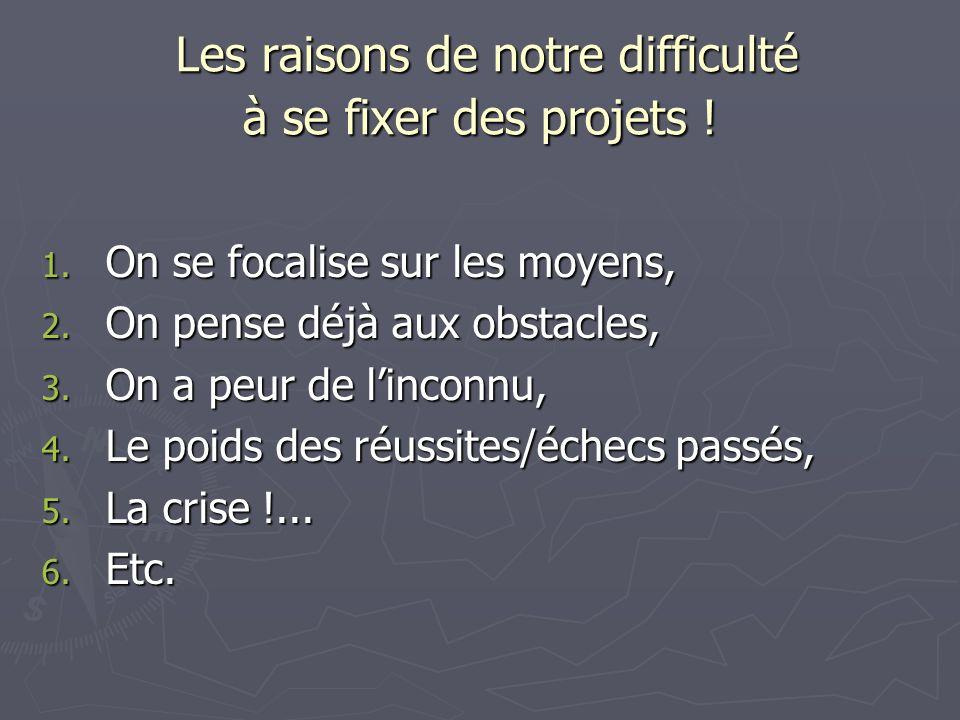Les raisons de notre difficulté à se fixer des projets ! Les raisons de notre difficulté à se fixer des projets ! 1. On se focalise sur les moyens, 2.