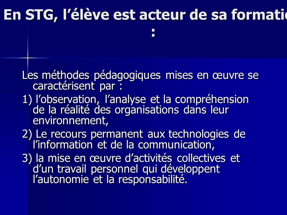 En STG, lélève est acteur de sa formation : Les méthodes pédagogiques mises en œuvre se caractérisent par : 1) lobservation, lanalyse et la compréhens