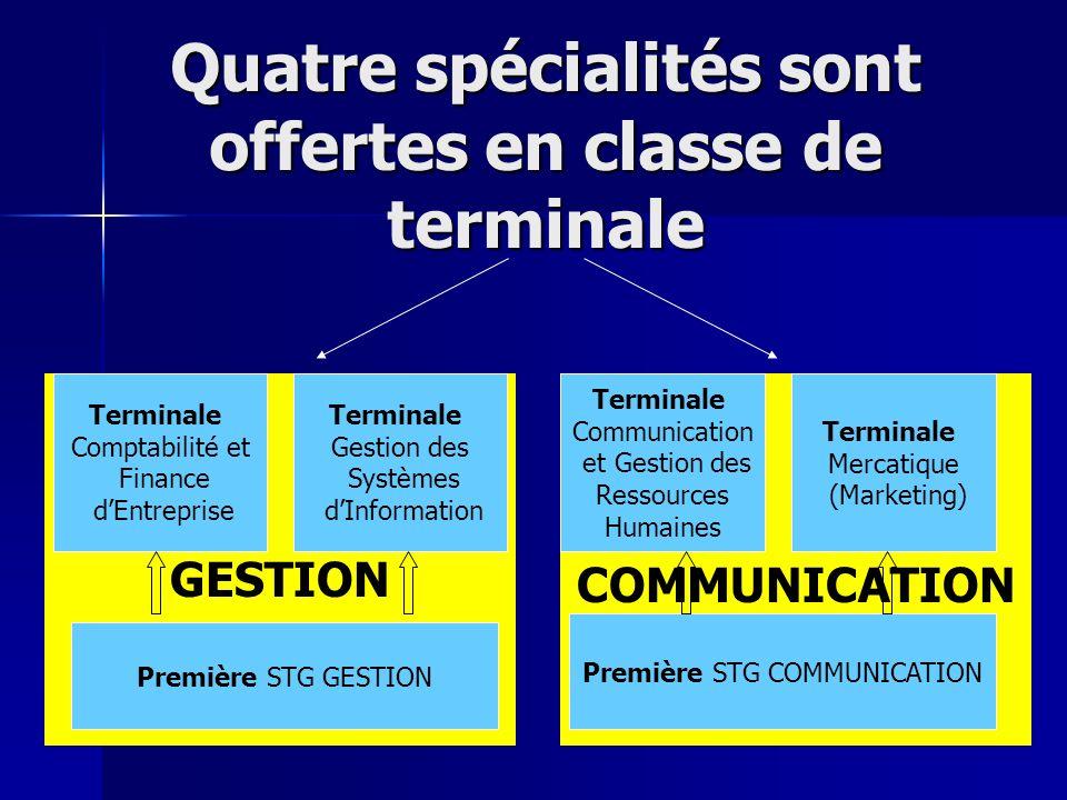 COMMUNICATION GESTION Quatre spécialités sont offertes en classe de terminale Terminale Comptabilité et Finance dEntreprise Terminale Gestion des Syst