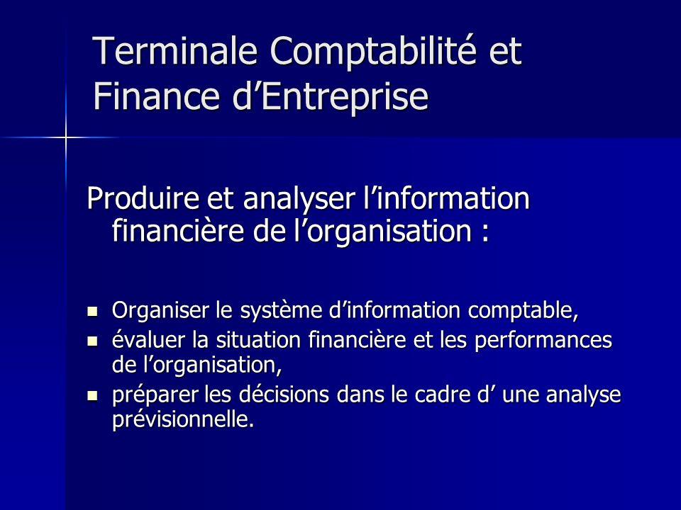 Terminale Comptabilité et Finance dEntreprise Produire et analyser linformation financière de lorganisation : Organiser le système dinformation compta