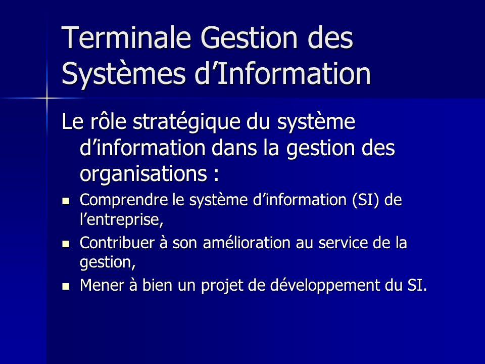 Terminale Gestion des Systèmes dInformation Le rôle stratégique du système dinformation dans la gestion des organisations : Comprendre le système dinf