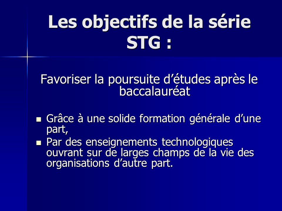Les objectifs de la série STG : Favoriser la poursuite détudes après le baccalauréat Grâce à une solide formation générale dune part, Grâce à une solide formation générale dune part, Par des enseignements technologiques ouvrant sur de larges champs de la vie des organisations dautre part.