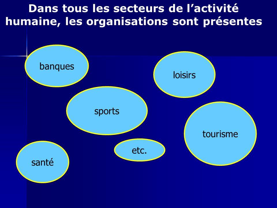 Dans tous les secteurs de lactivité humaine, les organisations sont présentes banques santé sports loisirs etc. tourisme