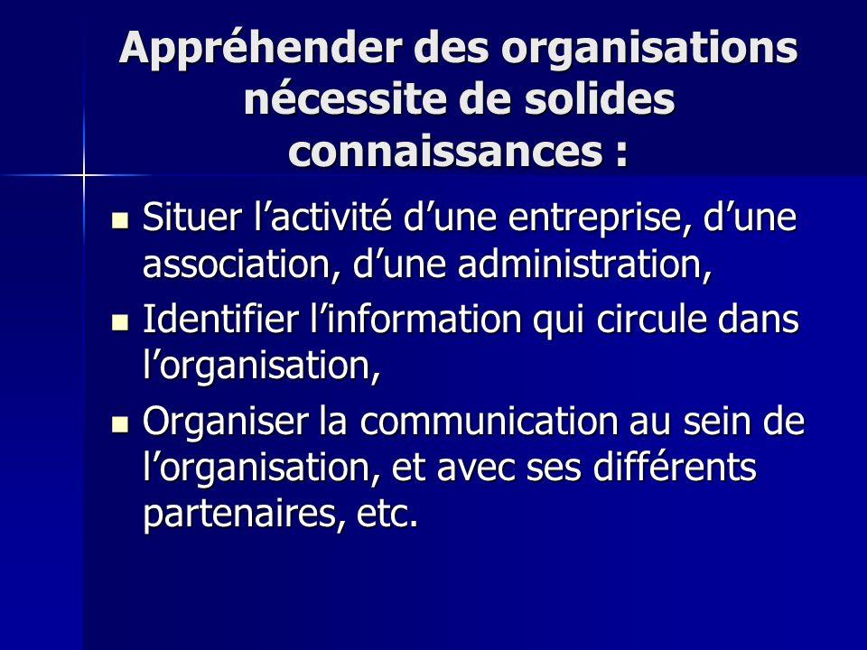 Appréhender des organisations nécessite de solides connaissances : Situer lactivité dune entreprise, dune association, dune administration, Identifier