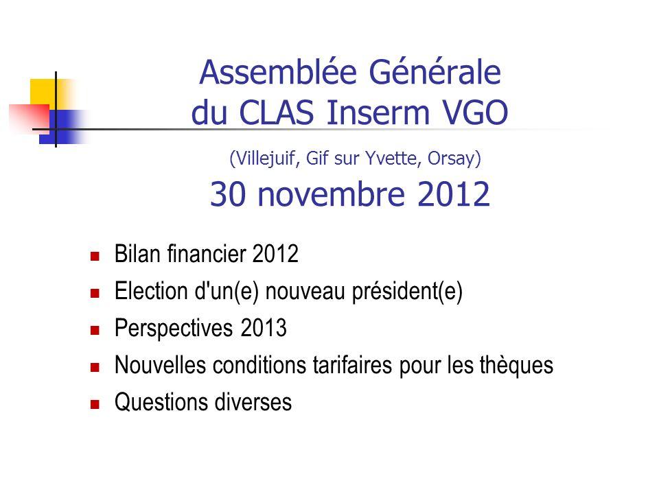 Election pour la présidence du clas VGO du 1 er janvier 2013 au 31 décembre 2013 Edith Lesieux est la nouvelle présidente (en remplacement de Nadine Kaniewski, retraitée Inserm) pour la période du 1 er janvier 2013 au 31 décembre 2013, correspondant à la fin du mandat actuel, avant de nouvelles élections en décembre 2013.