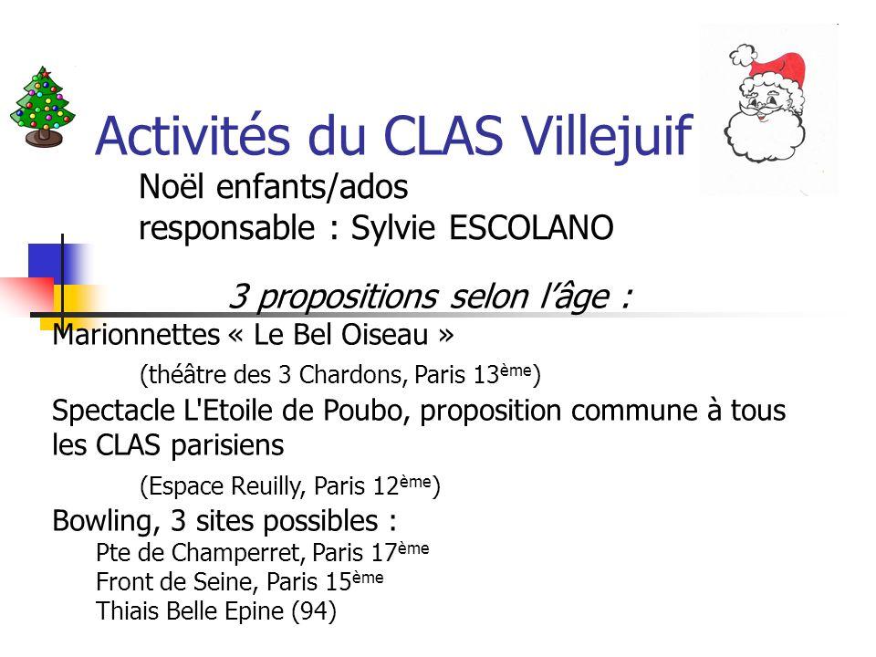 Noël enfants/ados responsable : Sylvie ESCOLANO 3 propositions selon lâge : Marionnettes « Le Bel Oiseau » (théâtre des 3 Chardons, Paris 13 ème ) Spe