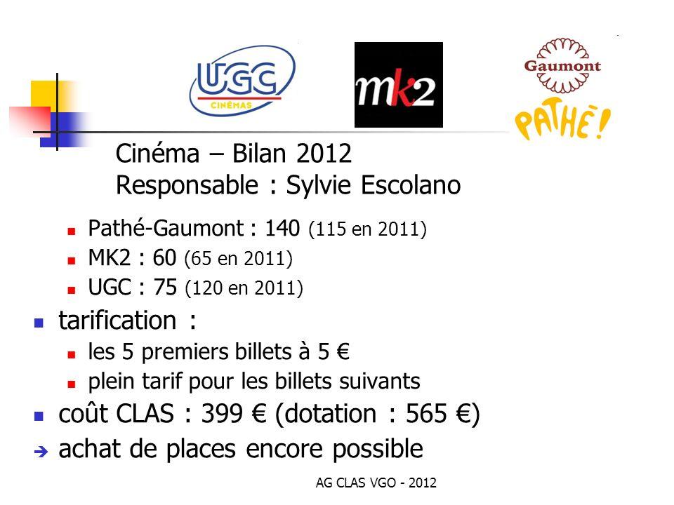 Cinéma – Bilan 2012 Responsable : Sylvie Escolano Pathé-Gaumont : 140 (115 en 2011) MK2 : 60 (65 en 2011) UGC : 75 (120 en 2011) tarification : les 5