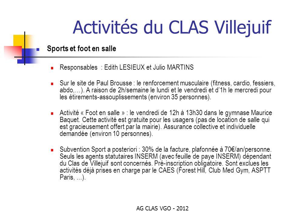 AG CLAS VGO - 2012 Activités du CLAS Villejuif Sports et foot en salle Responsables : Edith LESIEUX et Julio MARTINS Sur le site de Paul Brousse : le