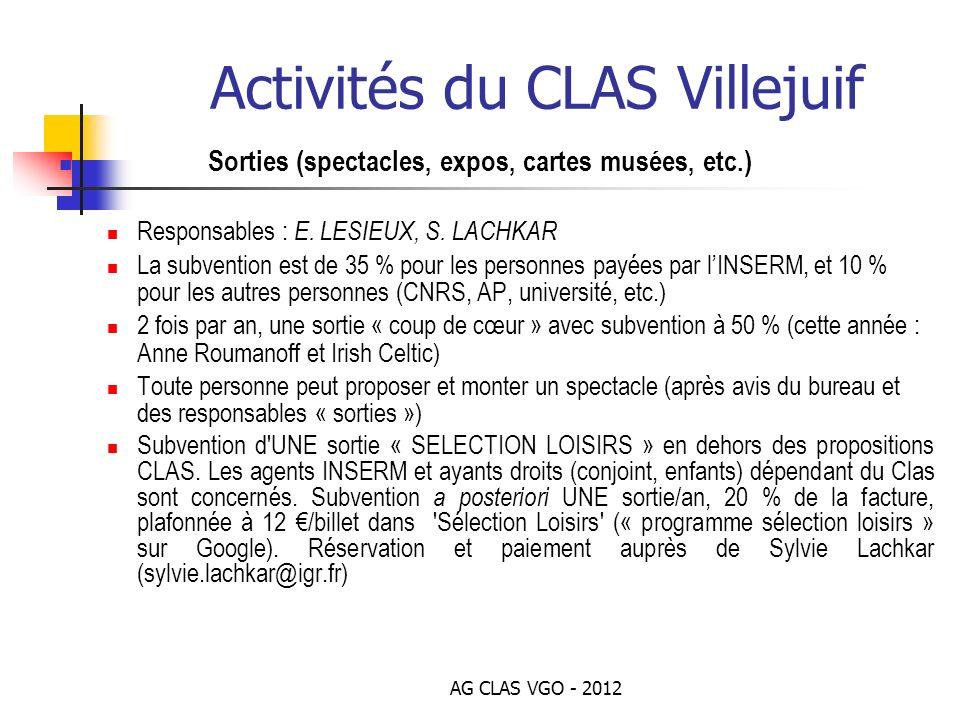 AG CLAS VGO - 2012 Activités du CLAS Villejuif Sorties (spectacles, expos, cartes musées, etc.) Responsables : E. LESIEUX, S. LACHKAR La subvention es