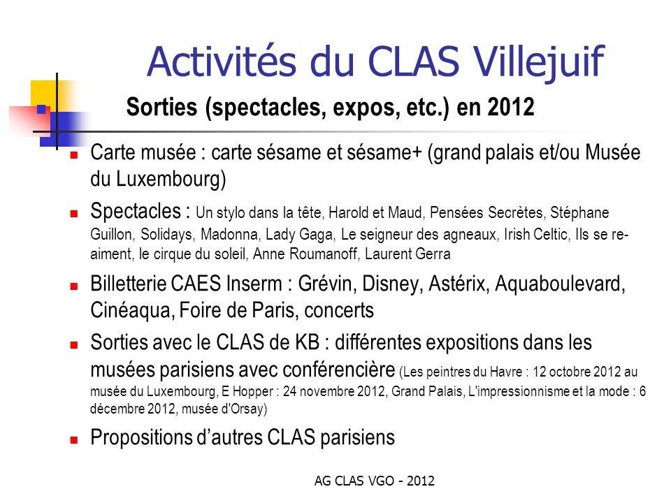 AG CLAS VGO - 2012 Activités du CLAS Villejuif Sorties (spectacles, expos, etc.) en 2012 Carte musée : carte sésame et sésame+ (grand palais et/ou Mus