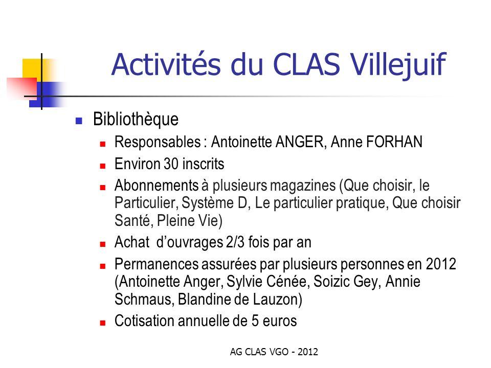 AG CLAS VGO - 2012 Activités du CLAS Villejuif Bibliothèque Responsables : Antoinette ANGER, Anne FORHAN Environ 30 inscrits Abonnements à plusieurs m