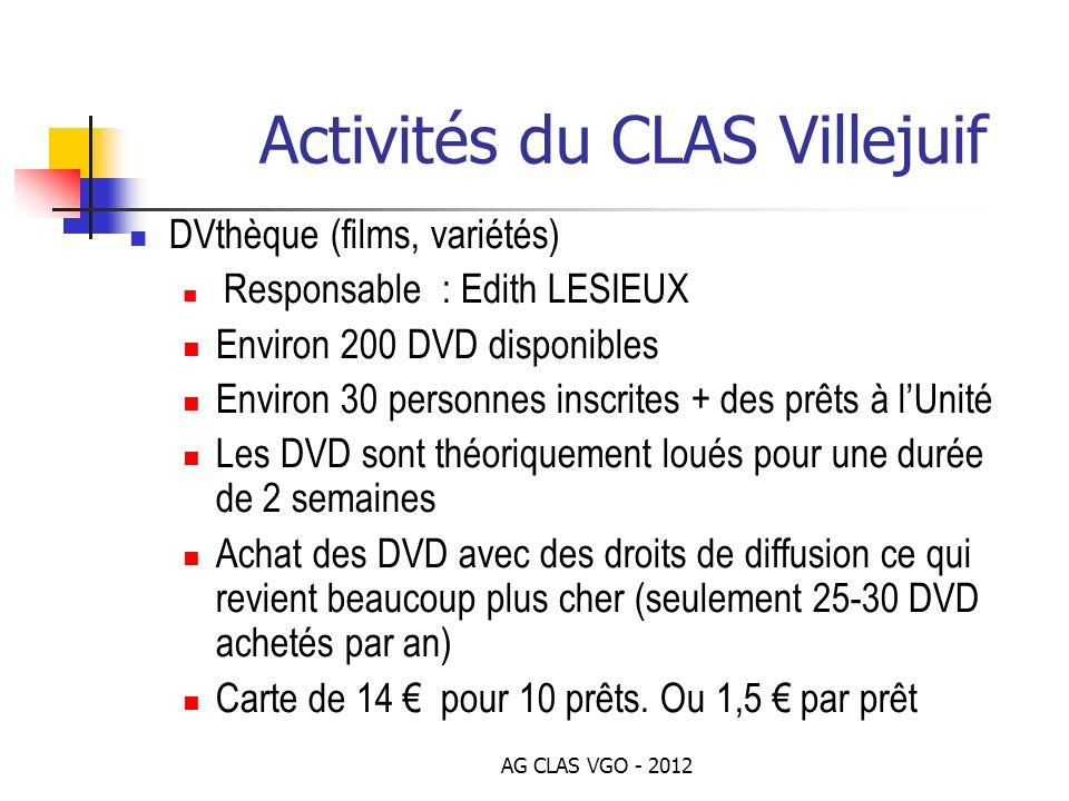 Bilan financier 2012 Dotation () / Budget demandé () Administration(frais banque) : 98 / 100 Bibliothèque : 1130 / 1200 DVthèque (films, variétés) :1036 / 1100 CDthèque (musique) : 140 / 150 Ludothèque : 235 / 250 Tickets cinéma : 565 / 600 Noël enfants/ados : 1980 / 2100 Sports : 2355 / 2500 Sorties (spectacles, expos, etc.) :3760 / 4000 Budget 2012 : 11 300 / 12 000 AG CLAS VGO - 2012