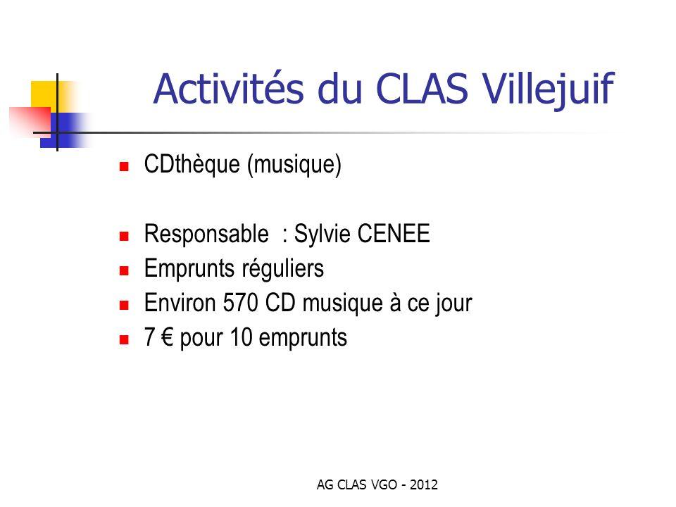 AG CLAS VGO - 2012 Activités du CLAS Villejuif CDthèque (musique) Responsable : Sylvie CENEE Emprunts réguliers Environ 570 CD musique à ce jour 7 pou