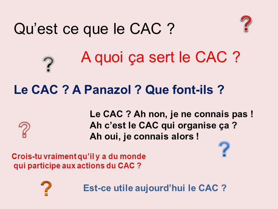 Quest ce que le CAC ? A quoi ça sert le CAC ? Le CAC ? A Panazol ? Que font-ils ? Le CAC ? Ah non, je ne connais pas ! Ah cest le CAC qui organise ça