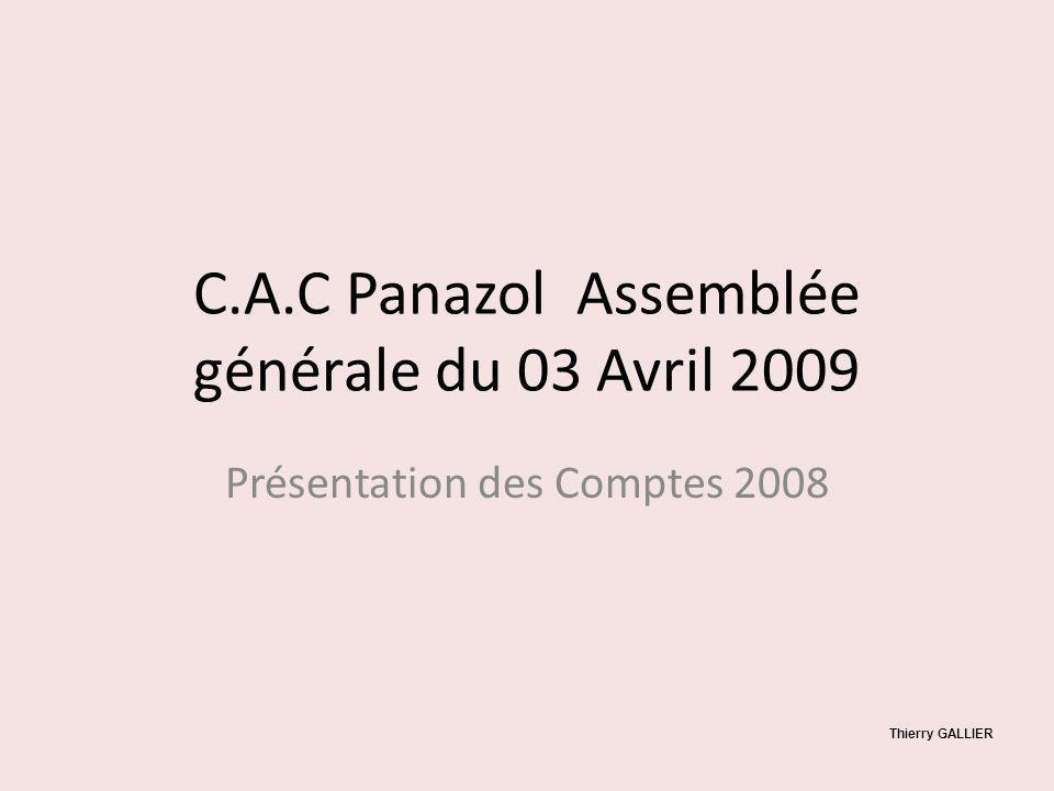 C.A.C Panazol Assemblée générale du 03 Avril 2009 Présentation des Comptes 2008 Thierry GALLIER