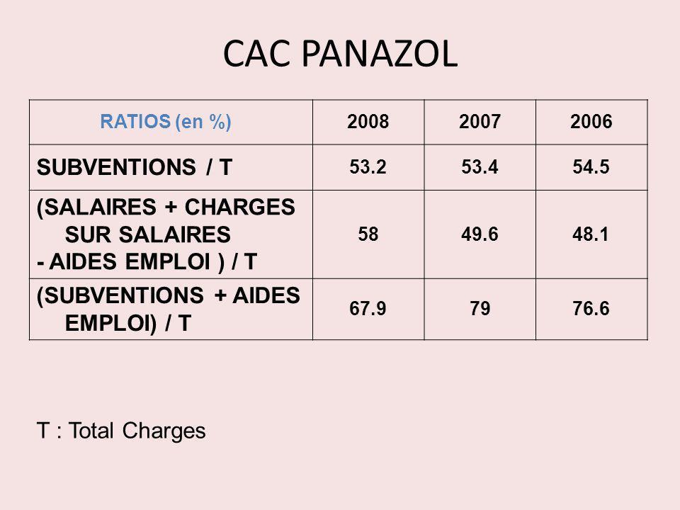 CAC PANAZOL RATIOS (en %) 200820072006 SUBVENTIONS / T 53.253.454.5 (SALAIRES + CHARGES SUR SALAIRES - AIDES EMPLOI ) / T 5849.648.1 (SUBVENTIONS + AI