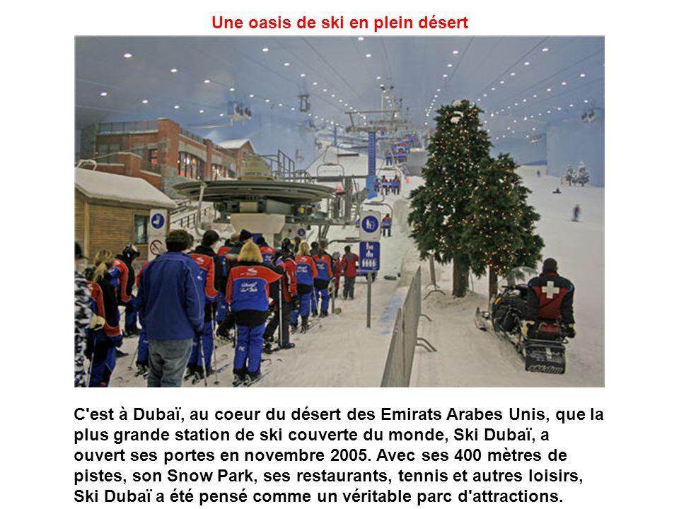 Une oasis de ski en plein désert C est à Dubaï, au coeur du désert des Emirats Arabes Unis, que la plus grande station de ski couverte du monde, Ski Dubaï, a ouvert ses portes en novembre 2005.