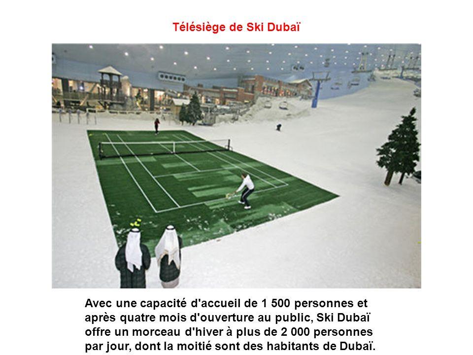 Tapis roulant de Ski Dubaï Pour remonter la pente : des tapis roulants et deux ascenseurs complètent un dispositif plus classique (télésiège et téléski).