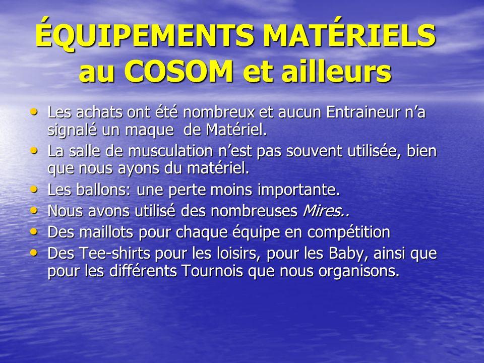 ÉQUIPEMENTS MATÉRIELS au COSOM et ailleurs Les achats ont été nombreux et aucun Entraineur na signalé un maque de Matériel.